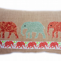 Cushion, Green, Red, Elephant design appliqué Throw Pillow