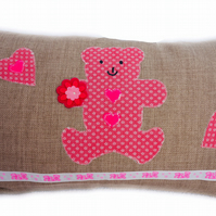 Cushion, Pink Teddy Bear design appliqué Throw Cushion
