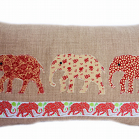 Cushion, Red and Beige Elephant design appliqué Throw Pillow