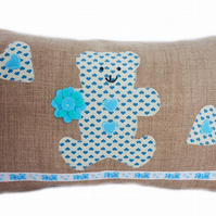 Cushion, Blue Teddy Bear design appliqué Throw Pillow