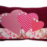Cushion, Paris and Hearts design appliqué Throw Pillow