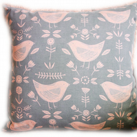 Cushion, Cream Bird design Throw Pillow