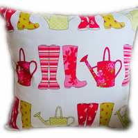 Cushion, Wellies & Watering Can design Throw Pillow