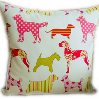 Cushion, Pink & Green Dog design Throw Pillow