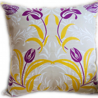 Cushion, Purple & Tan floral design Throw Pillow