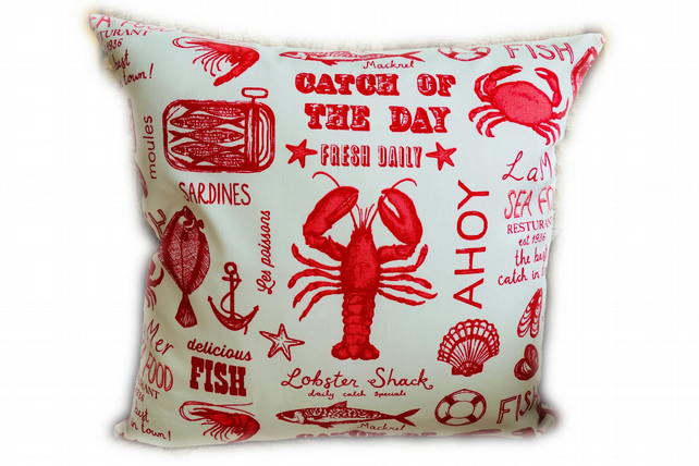 Catch of the Day Square Cushion, Throw Pillow, Scatter Cushion.