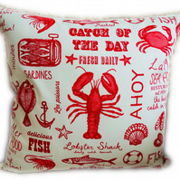 Cushion, Catch of the Day design Throw Pillow