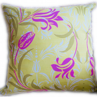 Cushion, Green & Pink floral design Throw Pillow