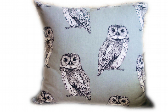 Grey Owl Square Cushion, Throw Pillow, Scatter Cushion.