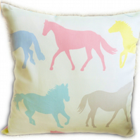 Cushion, Pastel Horse design Throw Pillow