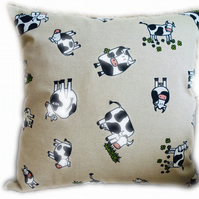 Handmade Decorative Feature Cushion Throw Pillow, Character Cow design
