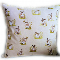 Cushion, Hares in Grass design Throw Pillow