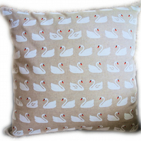 Cushion, White Swan design Throw Pillow
