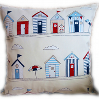 Cushion, Beach Hut design Throw Pillow