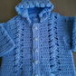 Blue crocheted hooded cardigan,made to order