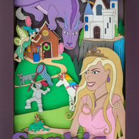 Fairy Tales, 3D Wall Art, Personalised Gift, Hand Painted, Wooden Picture.