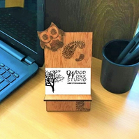 Business Card Holder, Owl, Paisley Design, Business Card Stand, Desk Organizer