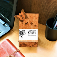 Business Card Holder, Butterflies, Wooden Business Card Stand, Butterflies,