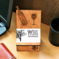 Business Card Holder, Wine Bottle, Wooden Business Card Stand, Wine Lovers, Wine