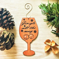 Gin Ornament, Gin-gle All The Way, Christmas Decoration, Gin Glass, Wooden