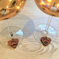 Wine Glass Charms, Mr & Mrs Heart Charms, Personalised Drink Charms, Wedding