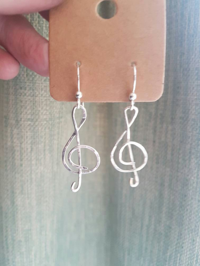 Hammered silver earrings, music treble clef, handmade