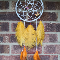 Boho Handmade Butterfly Dreamcatcher Wall Hanging Orange Yellow Feather Decorati