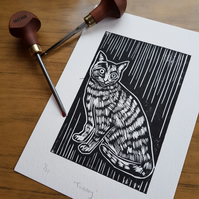 Handprinted linoprint of a Tabby Cat.