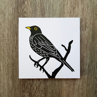 Black bird handprinted linoprint Greetings card.