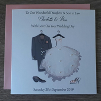 "Handmade Personalised 6"" Square Personalised Wedding Congratulations Card"