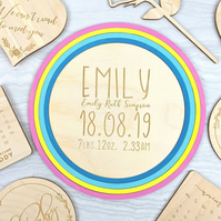Rainbow Newborn baby birth detail plaque, nursery decoration
