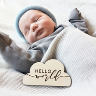 "Baby ""Hello World"" Wooden Cloud Plaque, Birth Announcement, Baby Shower Gift, ne"