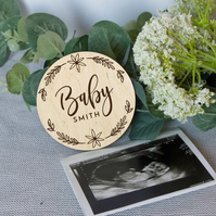 Baby name announcement photo prop, personalized baby announcement, pregnancy rev