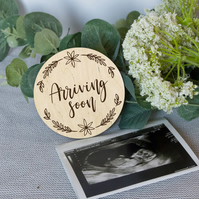 Arriving soon Baby announcement photo prop, personalized baby announcement, preg