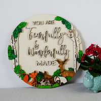 Woodland Nursery fearfully and wonderfully made sign