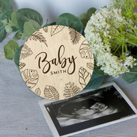 Baby announcement photo prop, personalized baby name keepsake, pregnancy reveal,