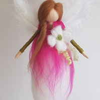 Pink needle felt fairy, wool fairy, hanging fairy, felt fairy, felt flowers