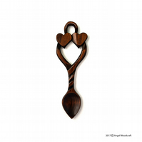Two Hearts as One Welsh Love Spoon - Angel Woodcraft (No. 22)