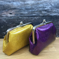 Glitter Clutch Bag.Kisslock Frame Purse,