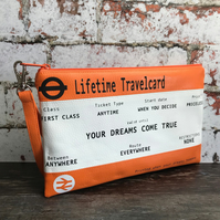"Faux Leather ""Travelcard Train Ticket"" inspired Zipper Pouch"