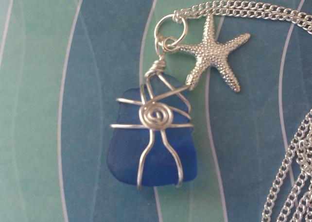 Pretty Cobalt Blue Sea Glass Pendant
