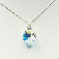 Sterling Silver Swarovski Elements Oval Aurora Borealis Crystal Necklace
