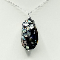 Sterling Silver Black Mosaic Abalone Necklace