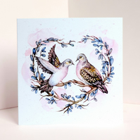 Love Doves Greetings Card, Recycled Bird Wedding Card, Couples Anniversary