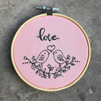 "Handmade, 'Love Birds', 4"" Embroidery Hoop, Wall Hanging, Gift, Pink & Green,"