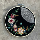 "Handmade, 7"" Floral, Embroidery Hoop, Wall Hanging, Flowers, Personalised, Hoop"