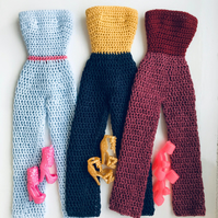 Crochet Barbie Jumpsuit in different colours, with shoes included