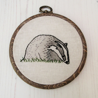 Badger Hand Embroidered Hoop Art