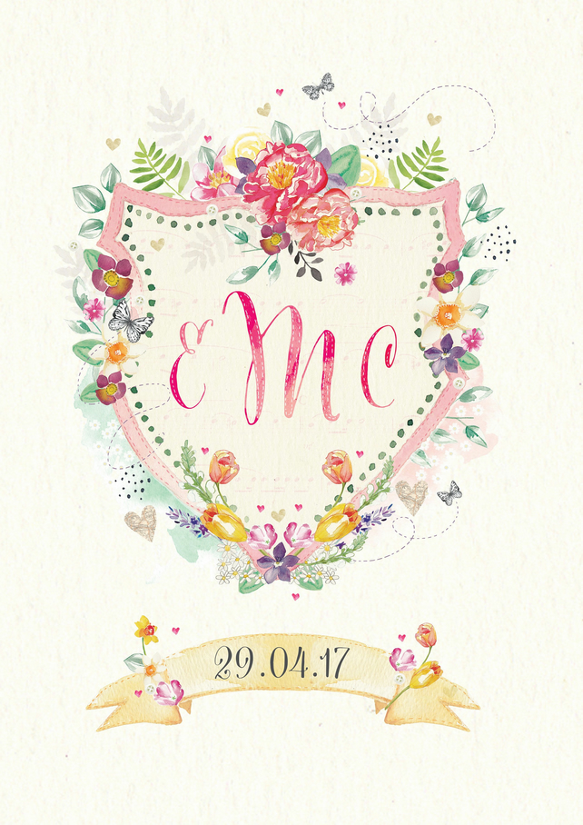 Bespoke Floral Heraldry Wreath Wedding Save the Date Cards