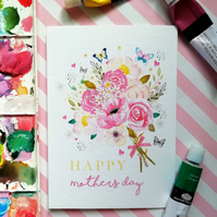 Happy Mother's Day A6 Floral Bouquet & Butterflies Card